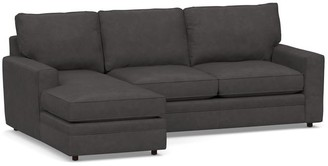 Pottery Barn Pearce Square Arm Leather 2-Piece Sofa With Chaise Sectional