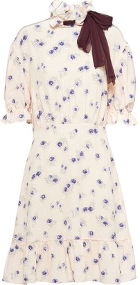 Miu Miu Rose Printed Marocain Dress