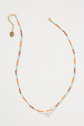 SANDY HYUN Larissa Pearl Necklace By in Orange Size ALL