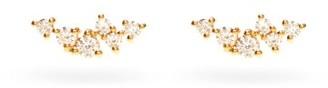 Mizuki Diamond & 14kt Gold Cluster Stud Earrings - Womens - Gold