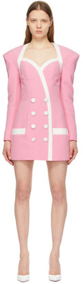 Balmain Pink and White Viscose Short Dress