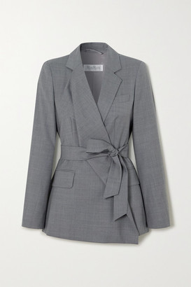 Max Mara Belluno Belted Asymmetric Wool Blazer - Gray