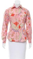 Bogner Paisley Print Button-Up Top