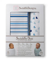 Swaddle Designs Jewel Tone Swaddle Duo - Blue Stripe/Chickies