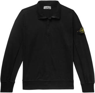 Stone Island Logo-Appliqued Loopback Stretch-Cotton Jersey Half-Zip Sweatshirt