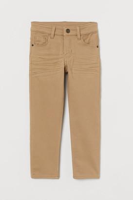 H&M Slim Fit Twill Pants - Beige