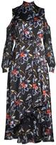 Diane von Furstenberg Silk High-Low Cold Shoulder Floral Dress