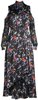 Diane von Furstenberg Silk High-Low Cold Shoulder Floral Dress