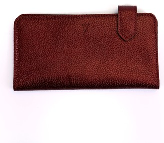 Hiva Atelier Fluctus Leather Wallet Metallic Burgundy