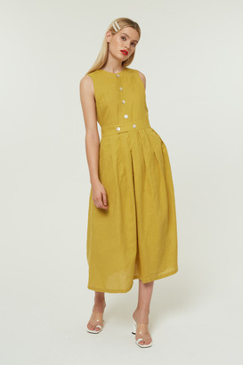 Jovonna London Mustard Benny Midi Dress With Volume Skirt - XS | mustard yellow - Mustard yellow