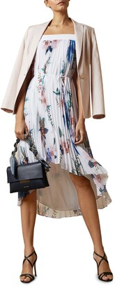Ted Baker Luner Jamboree Pleated Off the Shoulder High/Low Dress