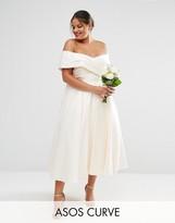 Asos BRIDAL Bonded Sateen Cross Fold Debutante Dress