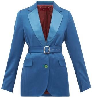 Sies Marjan Terry Belted Wool-twill Blazer - Womens - Blue