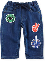 Kenzo Fleece Patchwork Denim Pants, Blue, Size 2-3