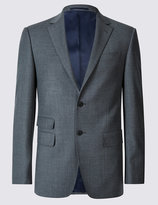 Marks And Spencer Grey Textured Regular Fit Wool Suit