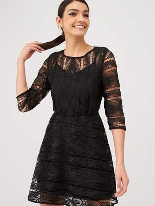 Very Geo Lace Skater Dress - Black