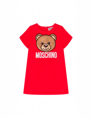 Moschino Teddy Embroidery Dress Woman Red Size 4a It - (4y Us)
