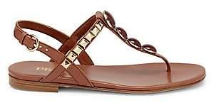 Prada Women's Embellished T-Strap Leather Sandals