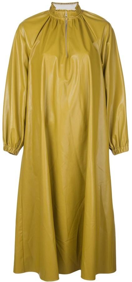 Tibi faux leather Edwardian shift dress