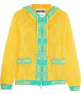Moschino Cropped Open-Knit Cotton Hooded Top