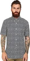 French Connection Men's Simple Diamond Short Sleeve Woven
