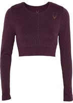 Lucas Hugh Stardust Cropped Metallic Striped Stretch-jersey Top - Plum