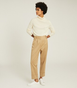 Reiss Mae - Wool Blend Pleat Front Trousers in Gold