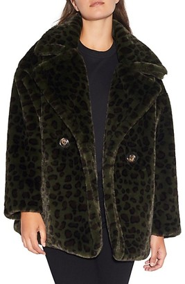 Apparis Amelia Leopard-Print Faux Fur Peacoat
