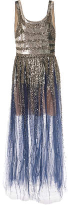 Oscar de la Renta Striped Sequined Tulle Gown