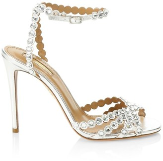 Aquazzura Tequila Crystal-Embellished Metallic Leather Sandals