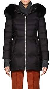 Prada Women's Fox-Fur-Trimmed Puffer Coat - Black
