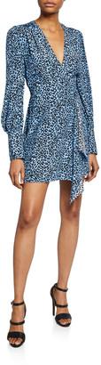 Les Rêveries Silk Leopard-Print Long-Sleeve Mini Wrap Dress