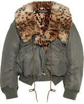Junya Watanabe Leopard-print Faux Fur-lined Shell Bomber Jacket - Gray green