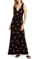 Loveappella Surplice Floral Jersey Maxi Dress