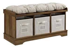 "Walker Edison 42"" Wood Storage Bench with Totes and Cushion - Rustic Oak"