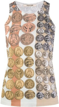Roberto Cavalli Stripes & Coins knitted tank top