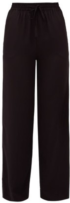 Matteau Drawstring-waist Silk-crepe Trousers - Black