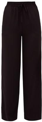 Matteau - Drawstring-waist Silk-crepe Trousers - Womens - Black