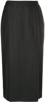Chanel Pre Owned Straight-Fit Wrap Midi Skirt