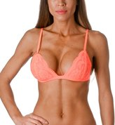 Anémone Women's Full Lace Semi Sheer Bralette Thin Band,Small/Medium