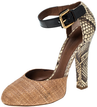 Dolce & Gabbana Beige Raffia and Python Trimmed Leather Ankle Strap Sandals Size 39