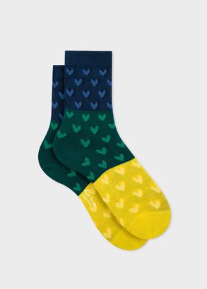 Paul Smith Women's Navy, Green And Yellow Heart Socks