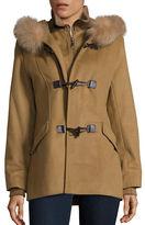 George Simonton Fox Fur-Trimmed Hooded Coat