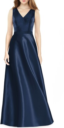 Alfred Sung V-Neck Satin Twill A-Line Gown