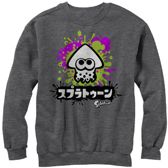 Fifth Sun Men's Pullover Sweaters CHAR - Splatoon Heather Charcoal Inkling Crewneck Sweater - Men