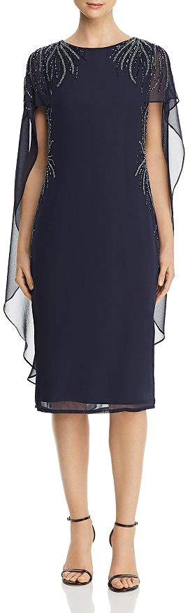 Adrianna Papell Embellished Cape-Overlay Dress
