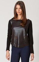 Hale Bob Shayla Faux Leather Top In Black