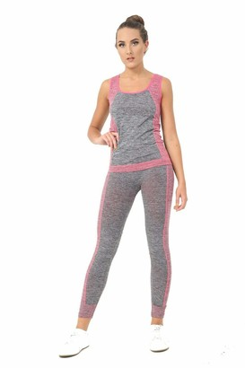 Bahob Womens Sportswear Set Ladies Gym Wear Track Suit Vest Top and Leggings Stretch Yoga Workout Fitness Set (Grey Pink / 1 Pack S/M)