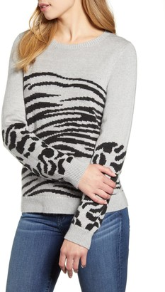 Lucky Brand Mixed Animal Print Knit Sweater