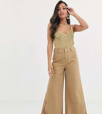 ASOS DESIGN Petite wide leg cargo pants with split side